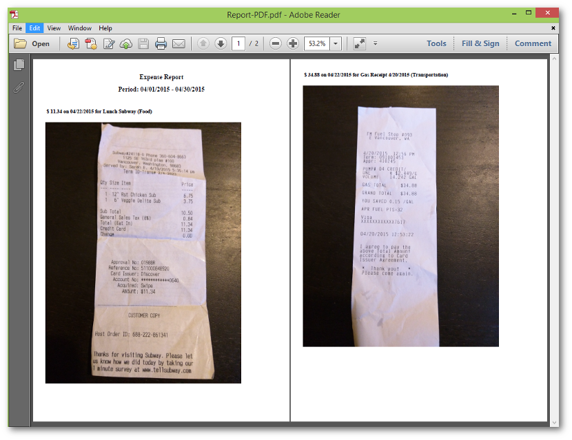 expense report with receipts pdf